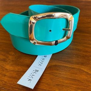 WHBM Turquoise Reversible Belt Fancy Gold Buckle